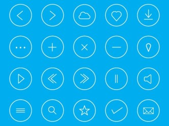 Round Thin Icon Set Vector