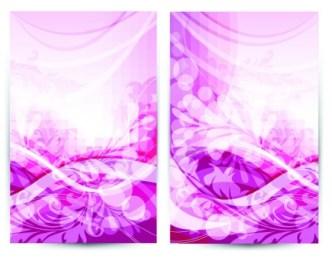 Vector Pink Floral & Waves Background
