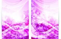 Vector Pink Floral & Waves Background