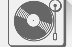 Flat Long Shadow Turntable Icon Vector
