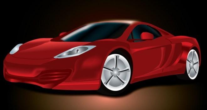 Red Ferrari Realistic Sports Car Vector