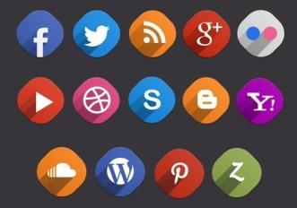 14 Flat & Long Shadow Social Icons PSD