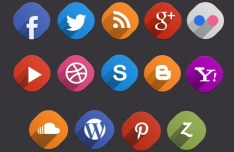 14 Flat & Long Shadow Social Icons PSD