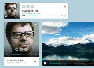 Clean and Clear Video & Audio Player Widgets PSD