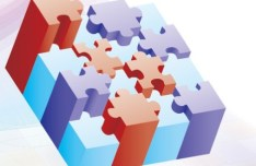 3D Colored Puzzles Background Vector