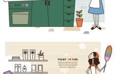 Cartoon Life of Housewife Vector Illustration