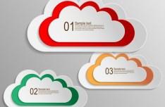 Set Of Colored Cloud Labels Vector