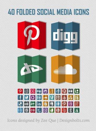 40 Paper Folded Social Media Icons