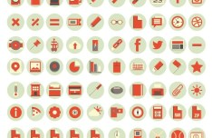 90 Flat Red Web Icons