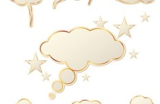 Set Of Yellow Clouds with Gold Borders Vector