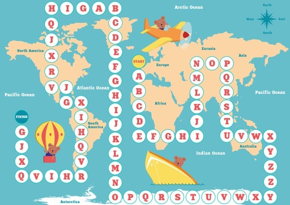 Geography and Alphabet For Kids Vector
