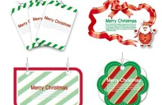 Set of Lovely Merry Christmas Labels Vector 01