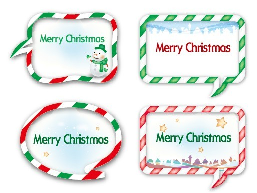 Set of Merry Christmas Styled Speech Bubbles Vector