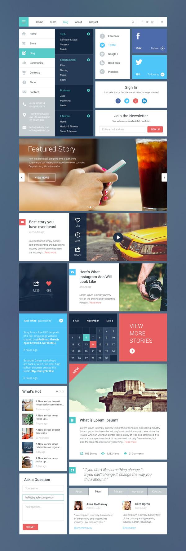 Blog & Magazine Concept Web UI Kit PSD