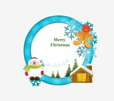 Free Circular Cartoon Merry Christmas Frame Vector 01 - TitanUI