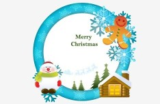 Circular Cartoon Merry Christmas Frame Vector 01