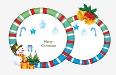 Circular Cartoon Merry Christmas Frame Vector 02