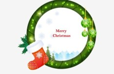 Circular Cartoon Merry Christmas Frame Vector 05