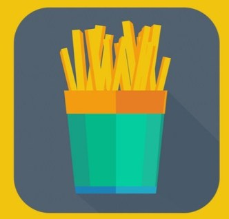 Flat Long Shadow French Fries Icon PSD