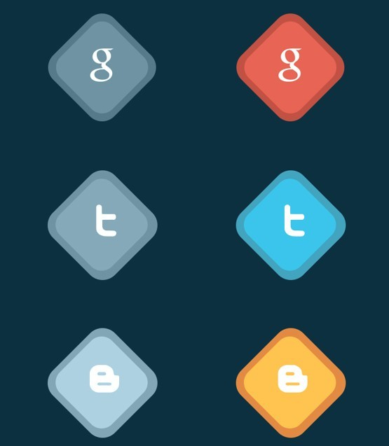 Rhombic Social Media Flat Icons