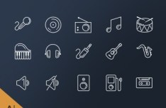 15 Music Line Icons Vector