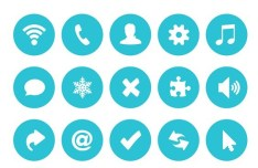 Blue Circle Buttons Flat Design PSD