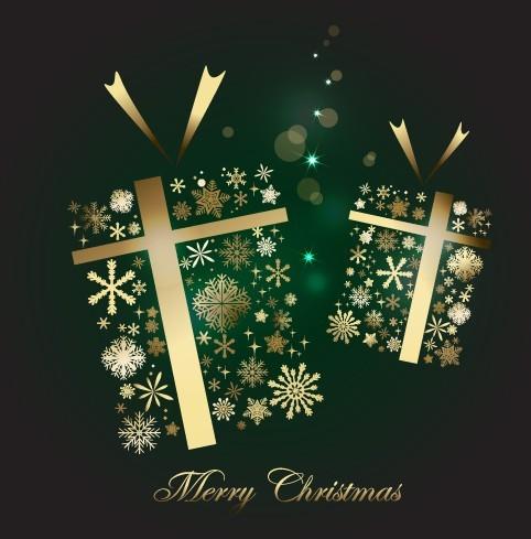 Creative Gold Christmas Gift Boxes Vector