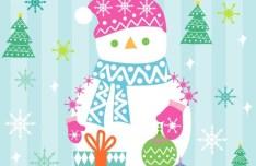 Cute Cartoon Merry Christmas Snowman Illustration Vector 01