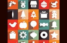 35 Long Shadow Christmas Icons
