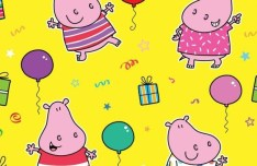 Lovely Cartoon Hippo Pattern Background Vector