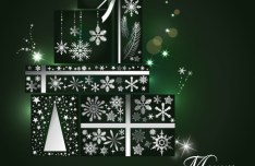 Dark Blue Christmas Gifts with White Snowflakes