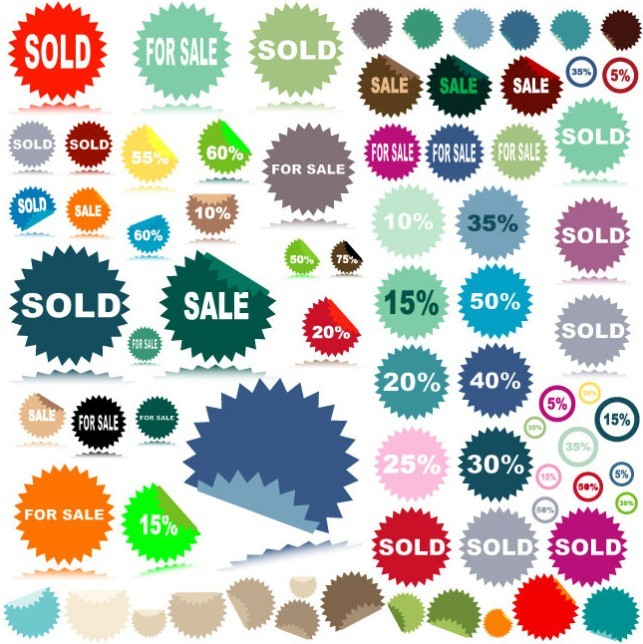 Set Of Colored Sale & Discount Stickers with Serrated Edge