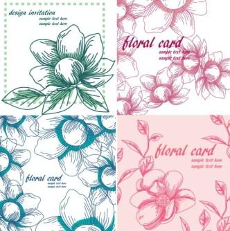 Set of Line Art Floral Invitation Cards Vector