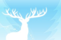 White Christmas Elk Silhouette with Snowflake Background Vector