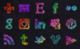 15 Creative Geometric Wireframe Social Icons PSD