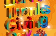 3D Happy Thanksgiving Day Text Design Vector