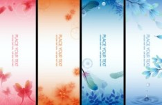 6 Vertical Fantastic Flower Banners Vector