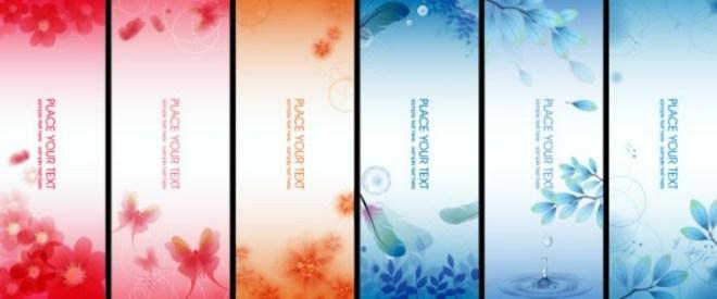 6 Vertical Fantastic Flower Banners Vector