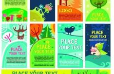 Set Of Green Cartoon Banners Vector