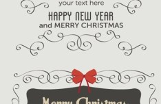 Merry Christmas & Happy New Year Design Decorative Elements Vector
