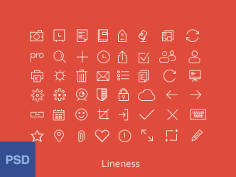 48 Thin Line Icons PSD
