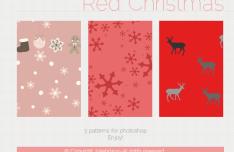 3 Red Christmas Patterns For Photoshop