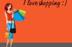 Shopping Girl I Love Shopping Vector Illustration
