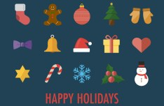 15 Flat Christmas Icons Vector