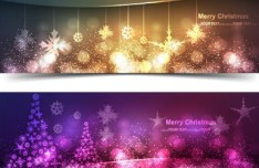 Vector Set Of Sparkling Merry Christmas Banners 02