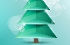 3D Origami Christmas Tree Vector Design 02