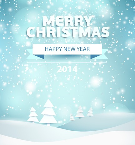 Merry Christmas and Happy New Year 2014 Background Vector