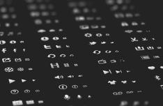 White Glyph Icon Set PSD