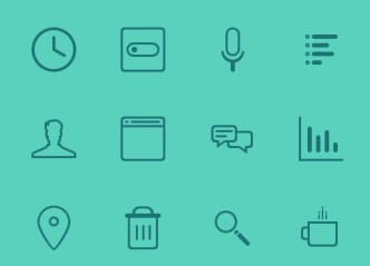 12 Teal Icons PSD