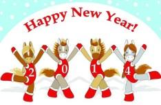 Cartoon Horse Cheerleading For Merry Christmas Vector 02